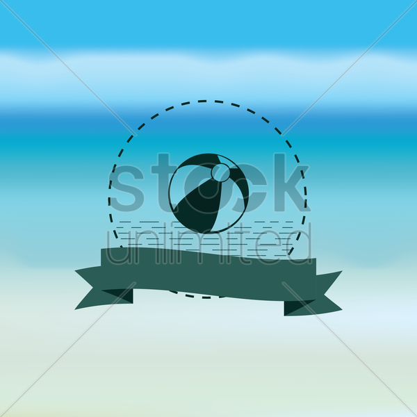 ball with banner vector graphic