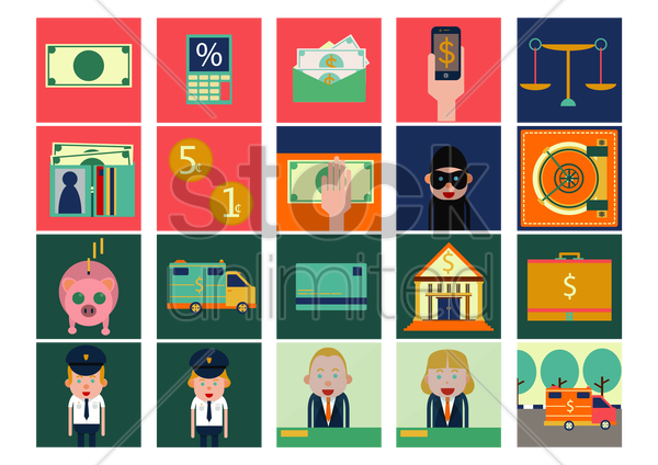 bank icons vector graphic
