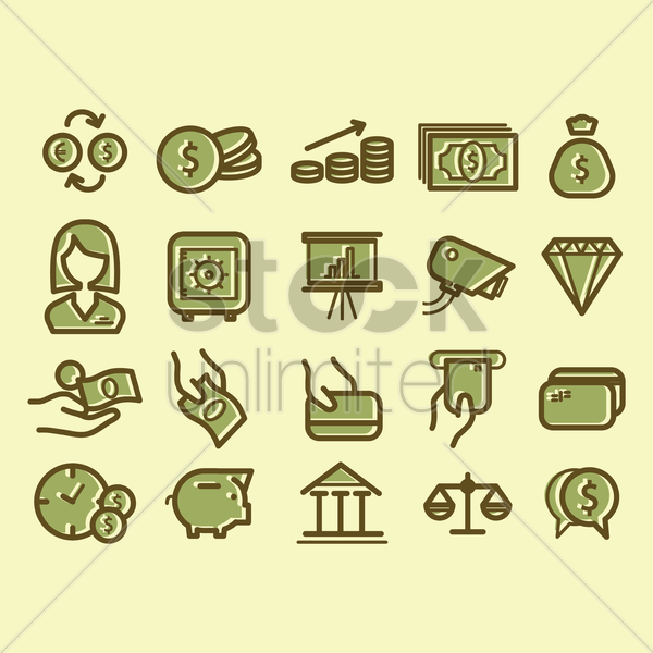 banking and finance icons vector graphic