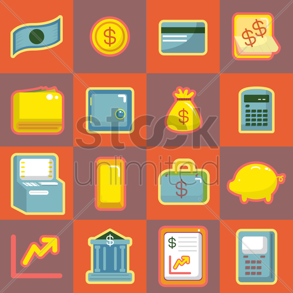 banking icon collection vector graphic