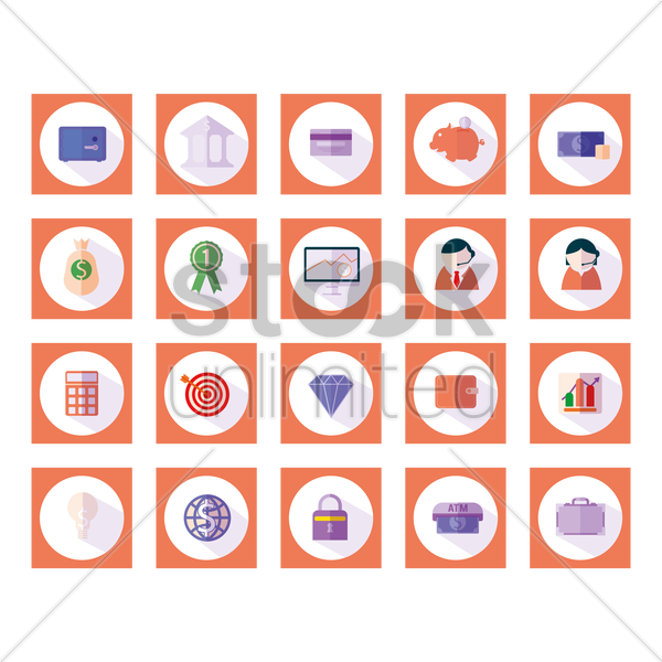 Free banking icons vector graphic