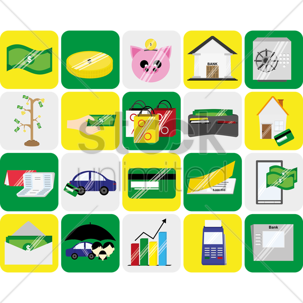 banking icons vector graphic