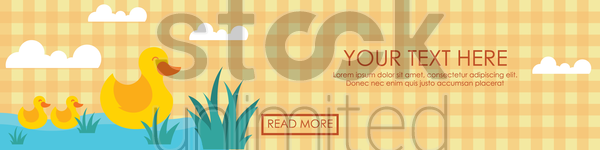 banner with duck pond vector graphic