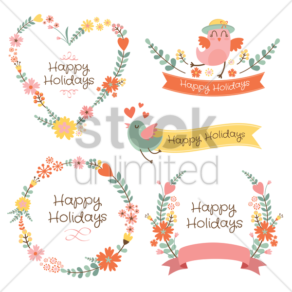 banners and floral frames vector graphic