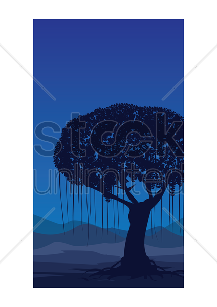 banyan tree wallpaper vector graphic