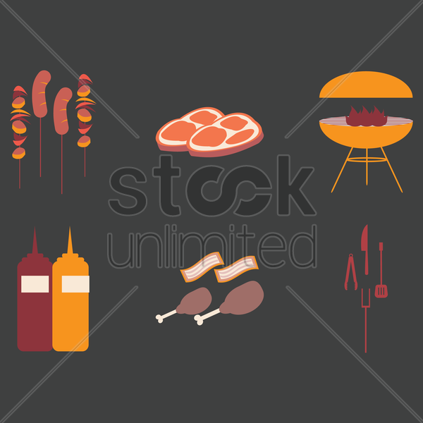 barbecue icon set vector graphic