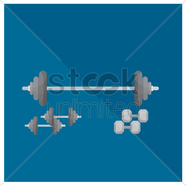 barbell and dumbbells vector graphic