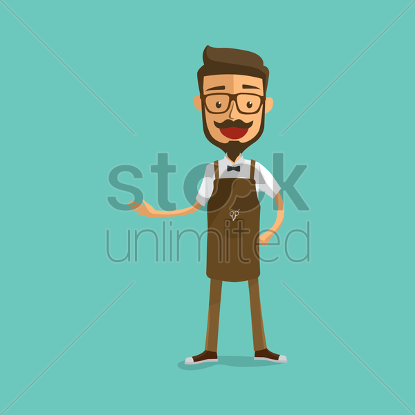 barber with welcoming gesture vector graphic