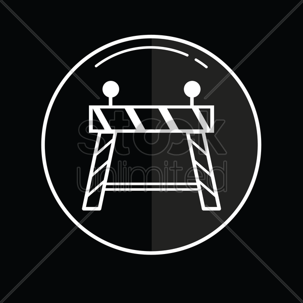 barricade icon with lights vector graphic