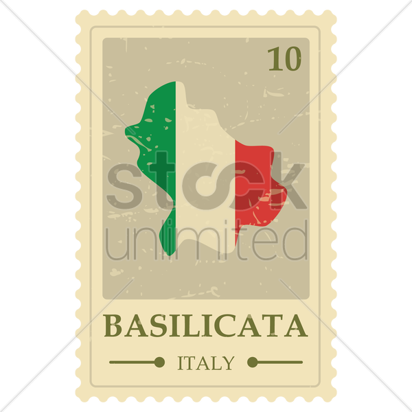basilicata map postage stamp vector graphic