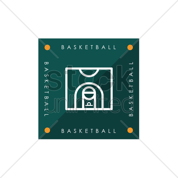 basketball half court vector graphic