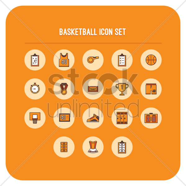 basketball icons vector graphic