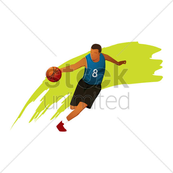 basketball player in a game vector graphic