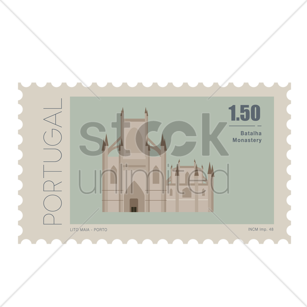 batalha monastery postage stamp vector graphic