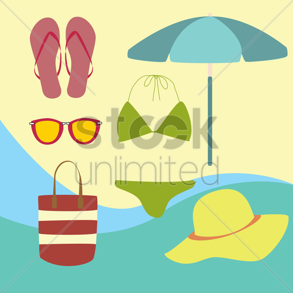 Free beach accessories vector graphic