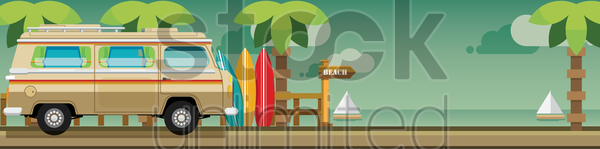 beach banner vector graphic
