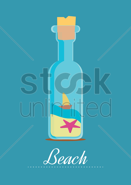 beach concept design with message in a bottle vector graphic