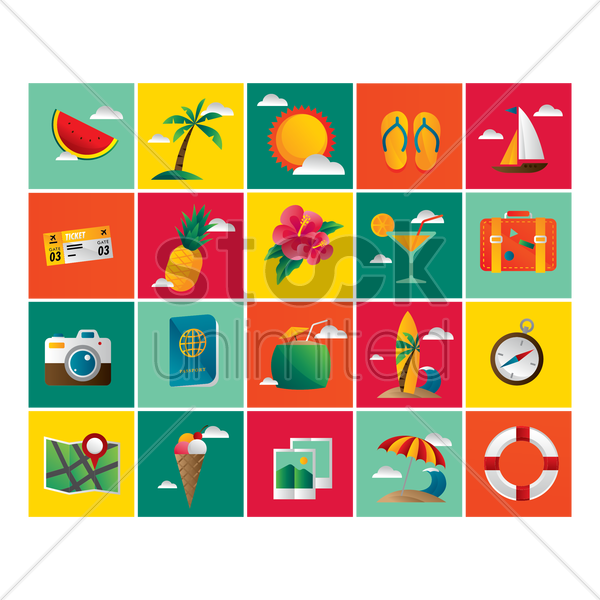 beach icon set vector graphic
