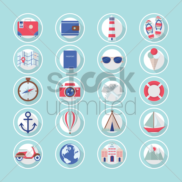 beach icons vector graphic