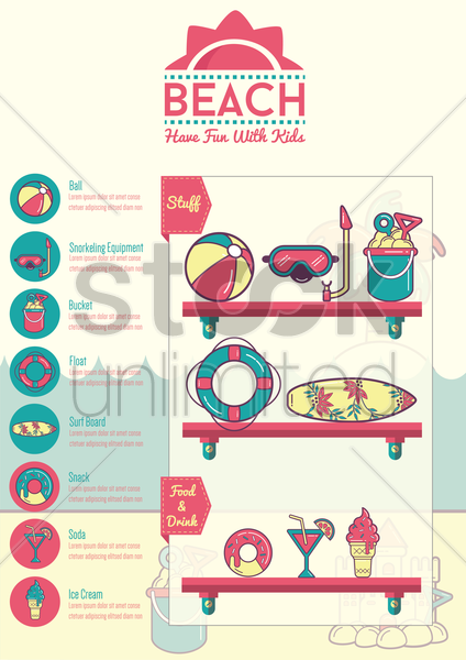 beach infographic vector graphic