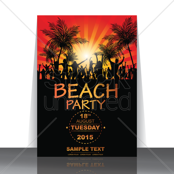 beach party flyer vector graphic