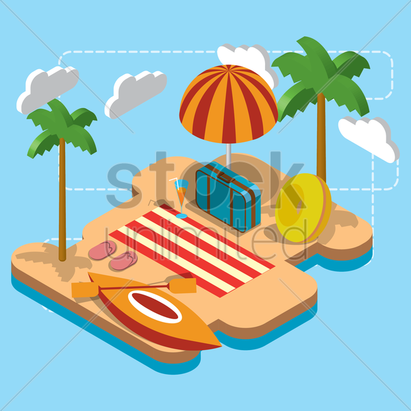 beach theme vector graphic