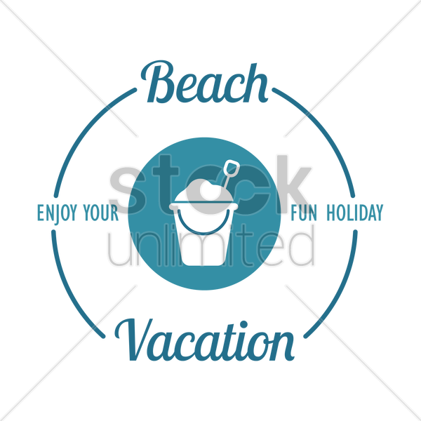 beach vacation design element vector graphic