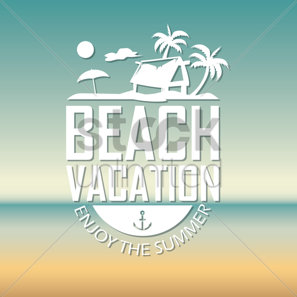beach vacation wallpaper vector graphic