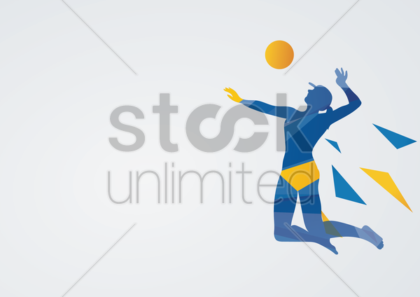 beach volleyball in action vector graphic