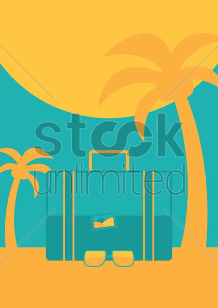 beach with travel bag vector graphic