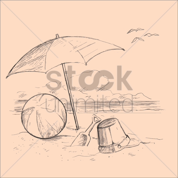 beach with umbrella and toys vector graphic