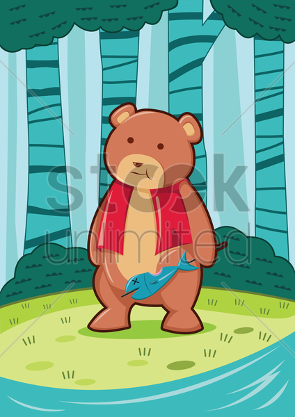 bear in the forest vector graphic