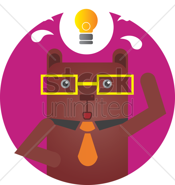 Free bear with an idea vector graphic