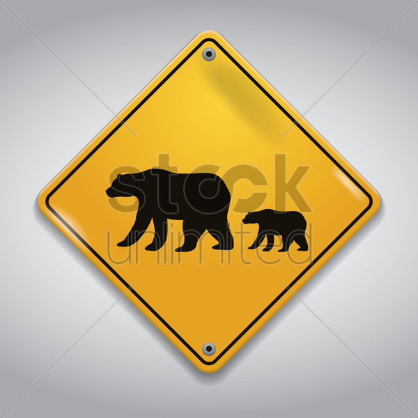 bears crossing sign vector graphic