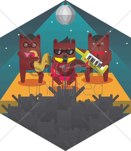 bears performing in concert vector graphic