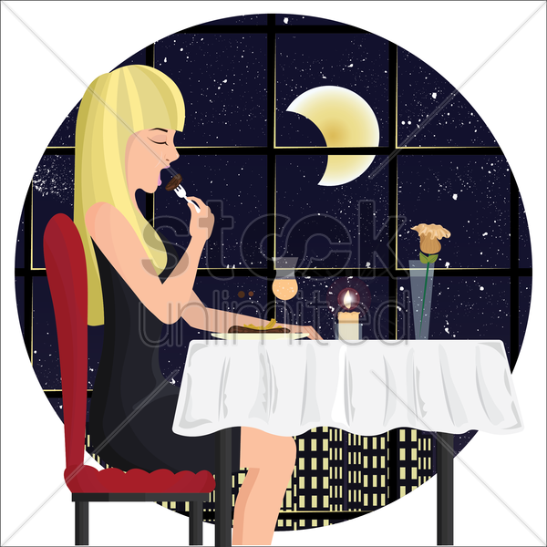 beautiful woman dining at a restaurant vector graphic