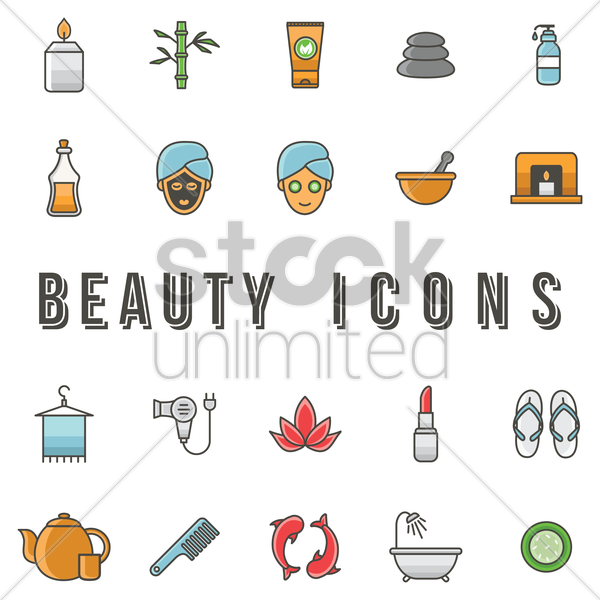 beauty icons vector graphic