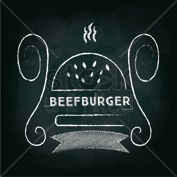 beef burger menu card design vector graphic
