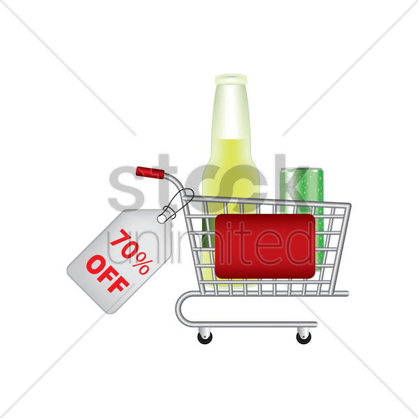 beer bottle and can promotion inside a shopping cart vector graphic