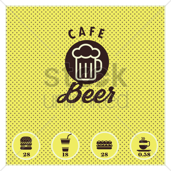 beer cafe menu card design vector graphic