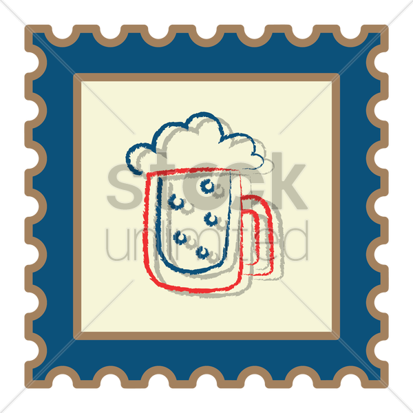 beer mug postage stamp vector graphic