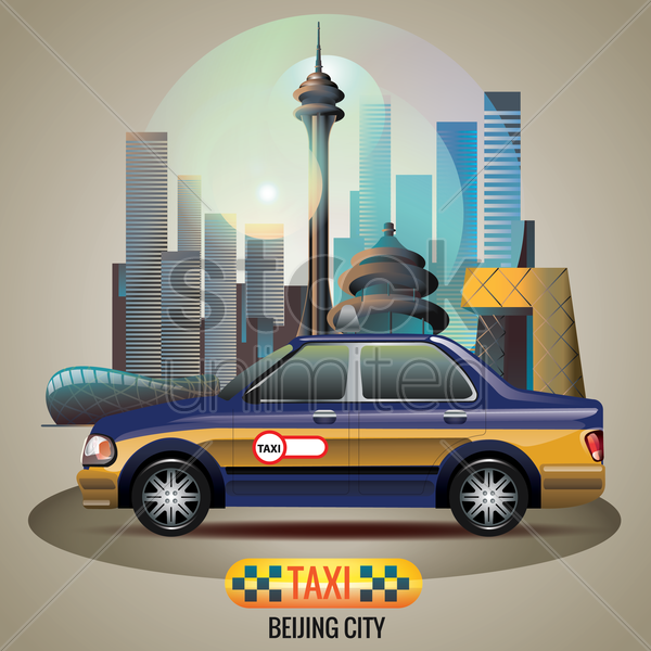 beijing city taxi vector graphic