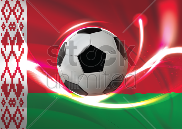 belarus flag with soccer ball vector graphic
