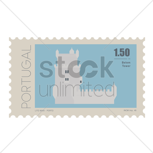 belem tower postage stamp vector graphic