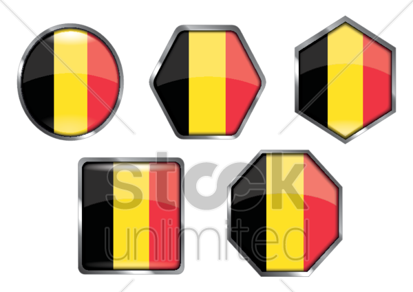 belgium flag icon collection vector graphic