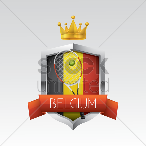 belgium flag with racket and ball vector graphic