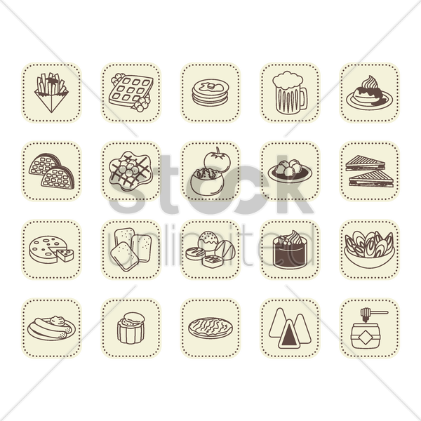 belgium food icons vector graphic