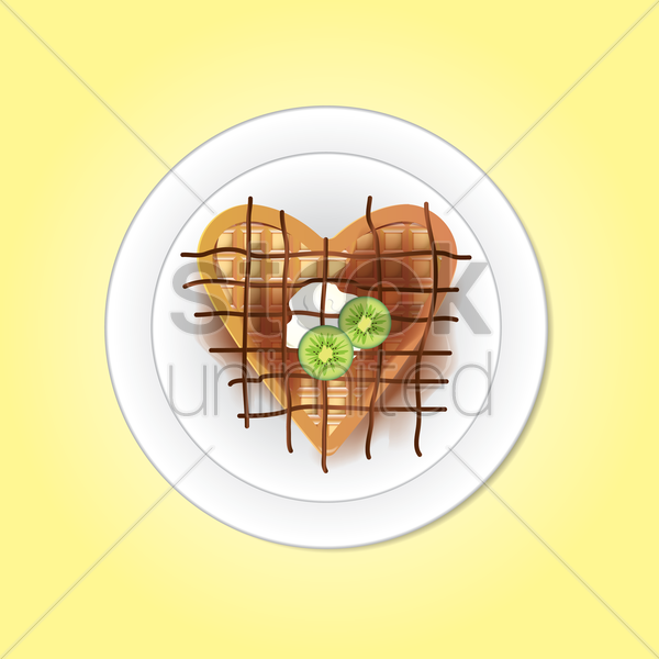 belgium heart shaped waffle vector graphic