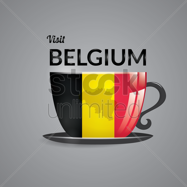 belgium map on beverage cup vector graphic