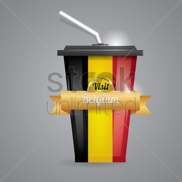 belgium map on disposable cup vector graphic